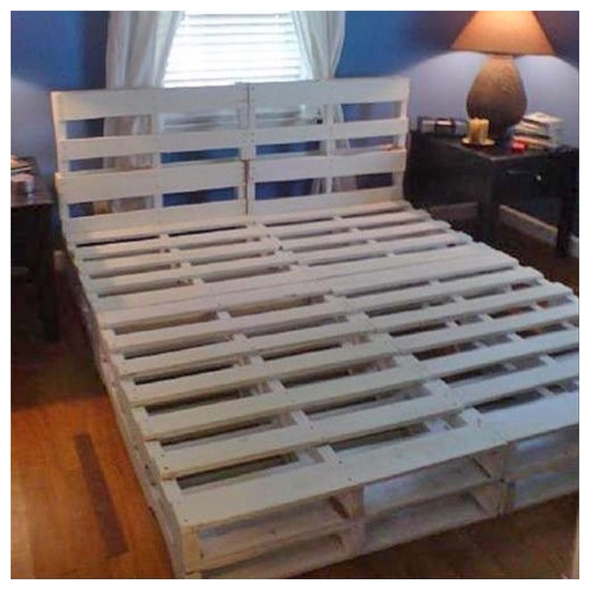 Skid Bed Affordable With Style Pallet Bed Frame Diy Diy Pallet Bed Diy Bed Frame