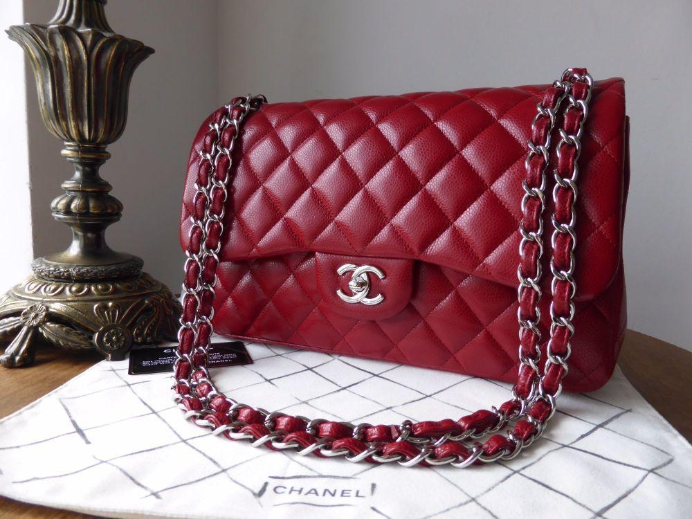 654300540b76 Chane Classic Jumbo Double Flap in Red Caviar with Silver Hardware (misma  combinación en bolso más pequeño)