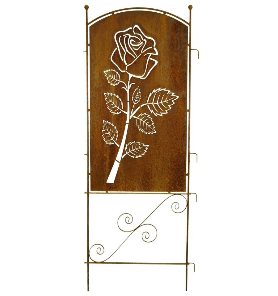 Metall Sichtschutz Rostig Mit Rosen Motiv 70cm X 190 Cm Edelrost