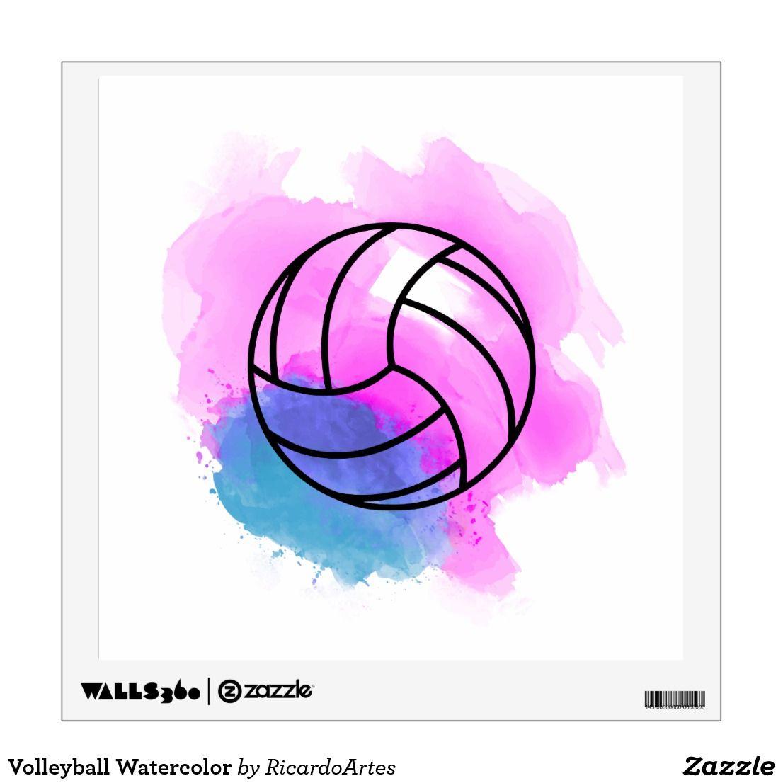 Volleyball Watercolor Wall Sticker Zazzle Com Volleyball Drawing Volleyball Wallpaper Watercolor Canvas