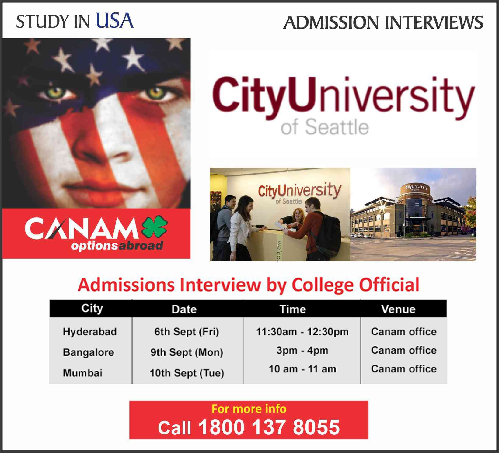Study In Usa City University Of Seattle For Complete Information Enrolment Call 18001378 Admissions Interview International Job Search International Jobs