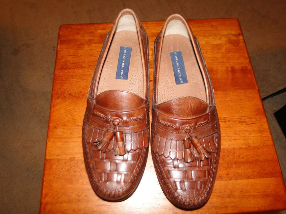 25231a9441c Giorgio Brutini Men s Size 9 Brown Leather Woven Toe Loafer Dress Shoes  Tassels  fashion  clothing  shoes  accessories  mensshoes  dressshoes (ebay  link)