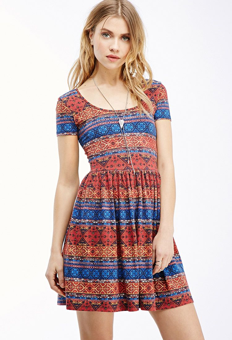 Kaleidoscopic print fit flare dress forever 21 canada