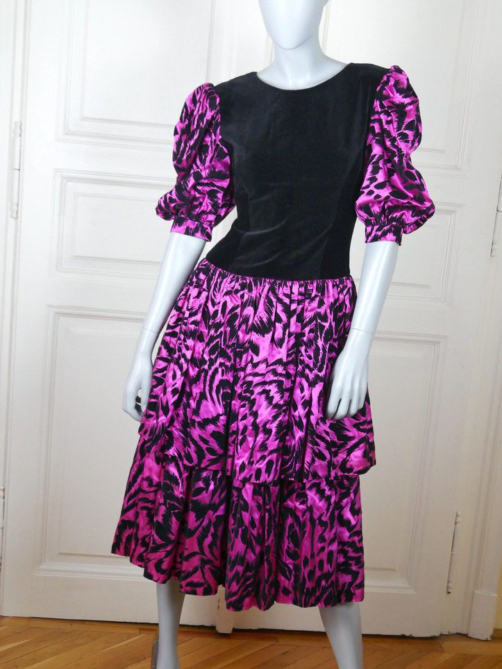 European Vintage Prom Dress, Black Velvet Cerise Pink 1980s Prom ...
