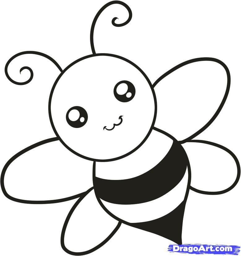 how to draw a bee for kids step by step animals for kids - Simple Sketch For Kids