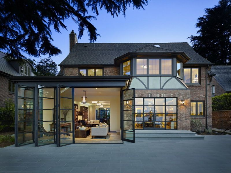 Contemporary Tudor Sunroom By Deforest Architects Tudor Style Homes Seattle Homes House Exterior