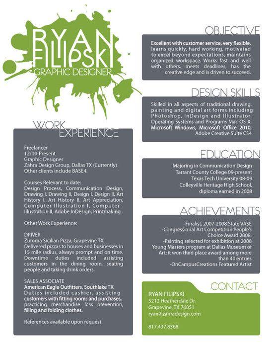 green  gray resume Resume Inspiration Pinterest Resume ideas