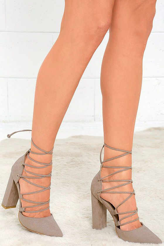 a167092b60f1f Forever and always, the Your Girl Taupe Suede Lace-Up Heels will be your