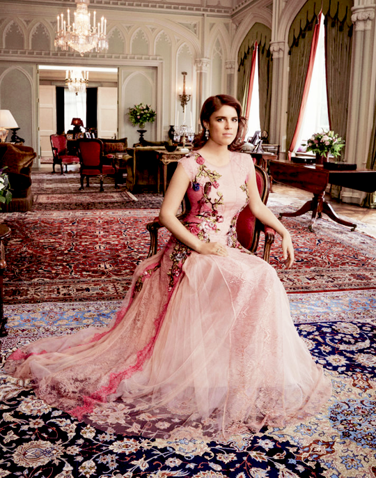 Princess Eugenie of York, wearing a stunning gown by