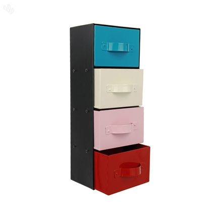 Storage Rack in Iron with 4 Drawers  #metal #drawers @ Zansaar.com