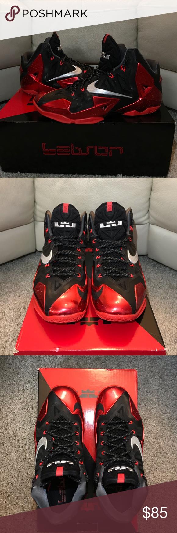 "finest selection d1287 433b0 Nike Lebron XI Miami Heat ""Away"" Nike LeBron 11 ""Away"" Black Metallic Silver -University Red-Bright Crimson-Dark Grey •Size- US 10.5 •Great condition."