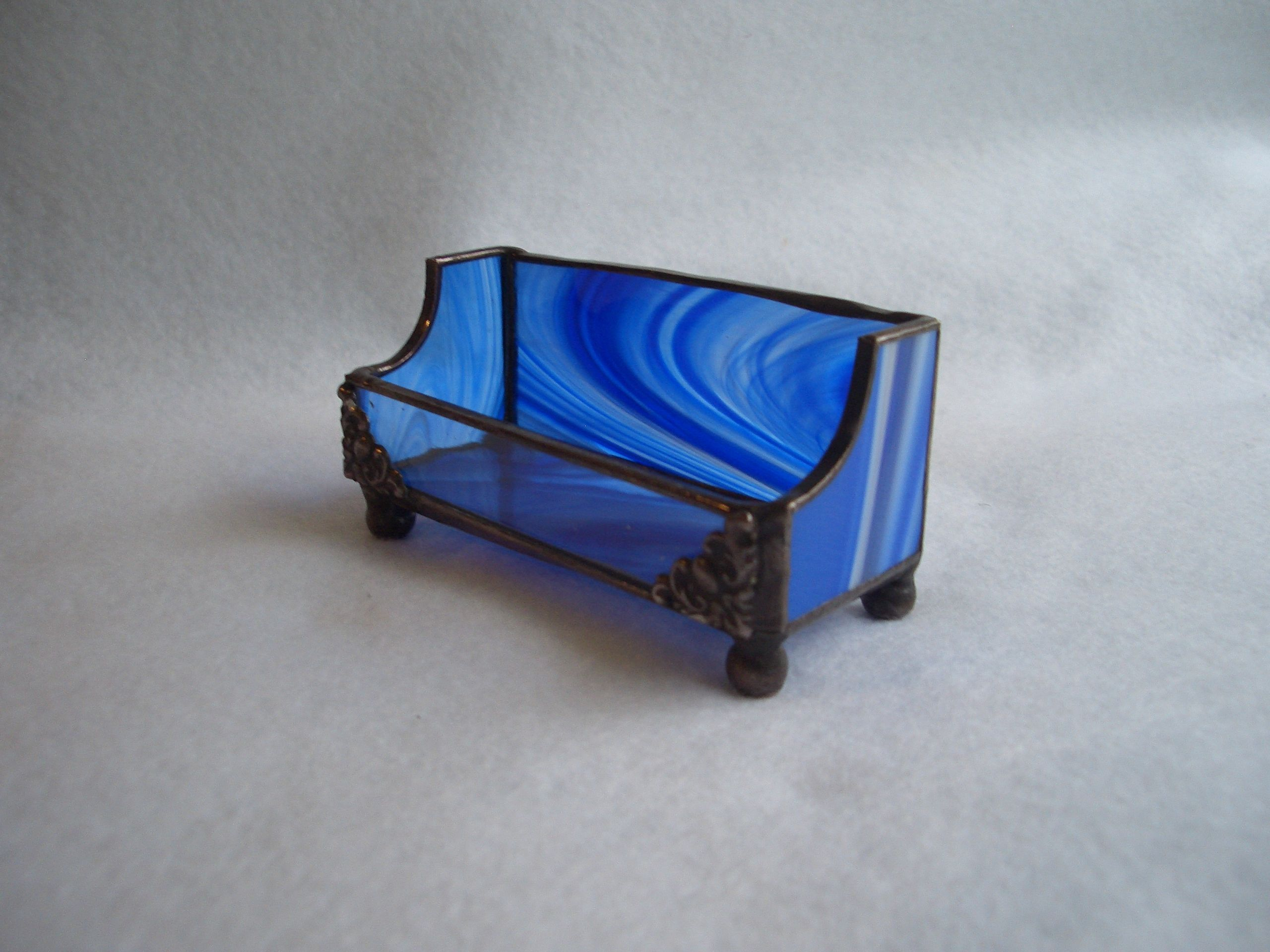 Blue White Baroque Stained Glass Business Card Holder | AGA Stained ...