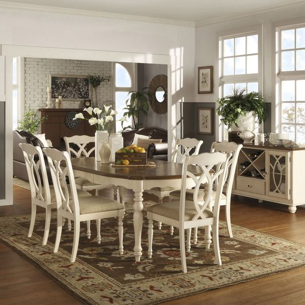 TRIBECCA HOME Shayne Country Antique Twotone White Extending Dining - Cheapest white extending dining table