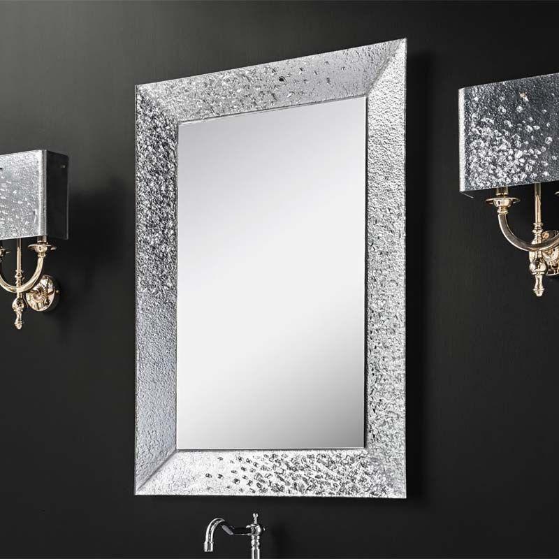 Miroir Salle De Bain 98x70 Cm Cadre Verre Argent Celine Miroir