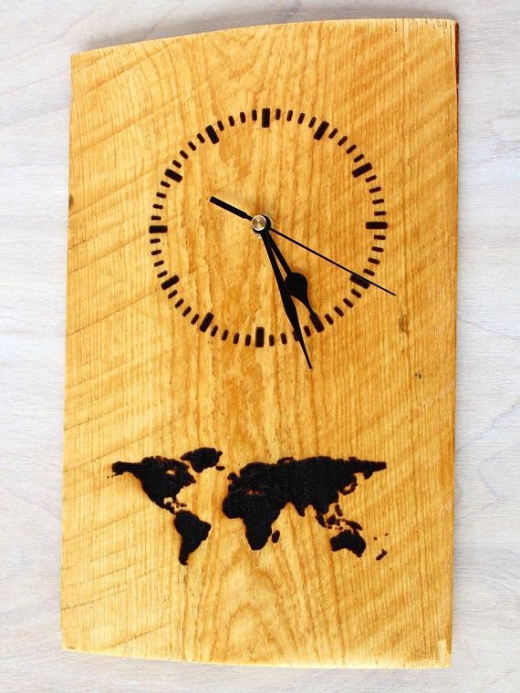 Time to travel clock wooden clock with map travel clock rustic time to travel clock wooden clock with map travel clock rustic clock home decor rustic decor world map laser engraved clock gumiabroncs Images