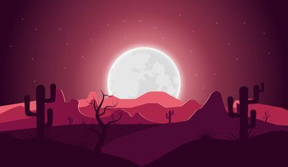 Desert landscape with night cactus mountain and full moon Vector illustration