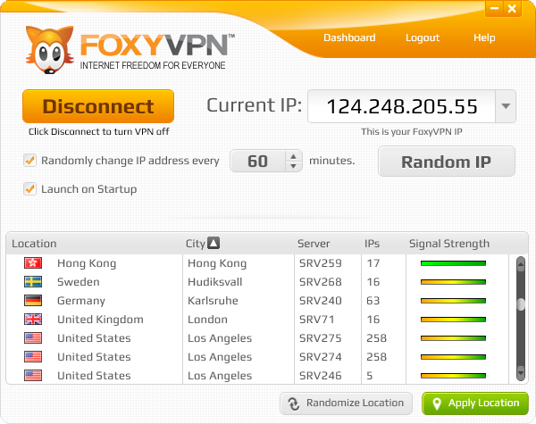 FoxyVPN provides a secure anonymous proxy VPN tunnel between you and