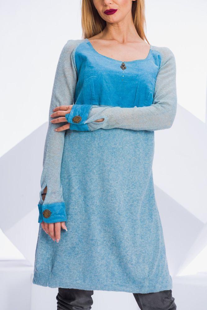 Elisa Cavaletti Kleid S Blau Boho Chic Midi Designer Dress ...