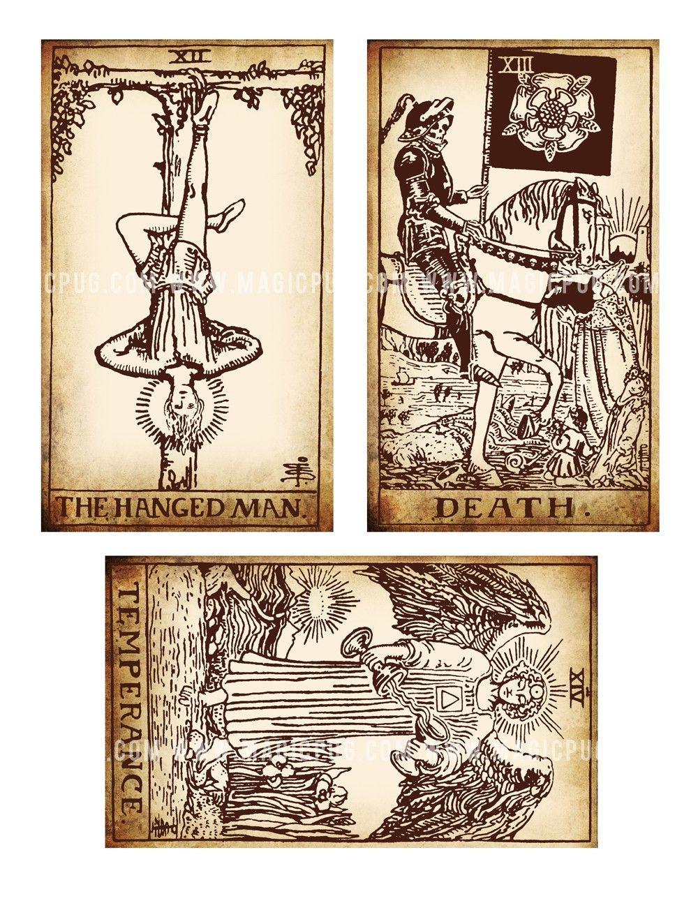 photo about Printable Tarot identified as Antique Printable Tarot PDF electronic collage sheet changed