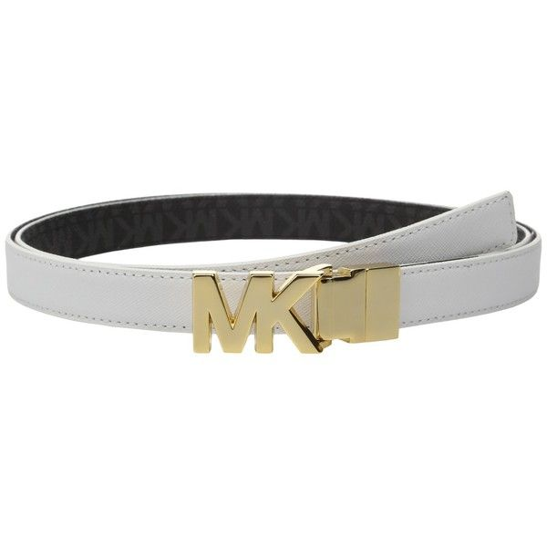 MICHAEL Michael Kors 20mm Reversible Saffiano to Logo PVC on MK Buckle... ($36) ❤ liked on Polyvore featuring accessories, belts, black and white belt, michael michael kors, waist belts, hip belt and logo belts