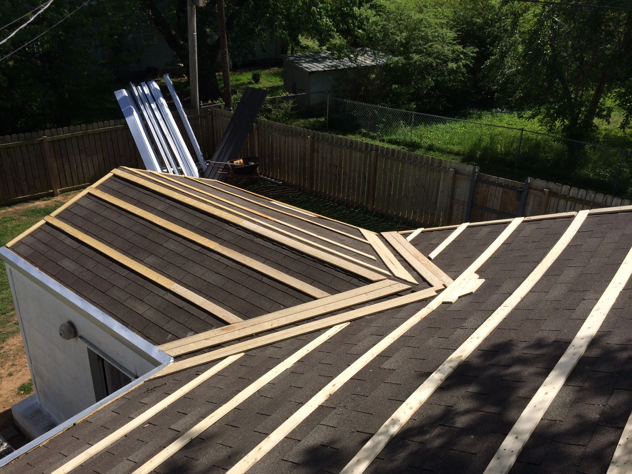 Finished Putting Down Furring Strips On Garage Metal Roof Gazebo Roof House Exterior
