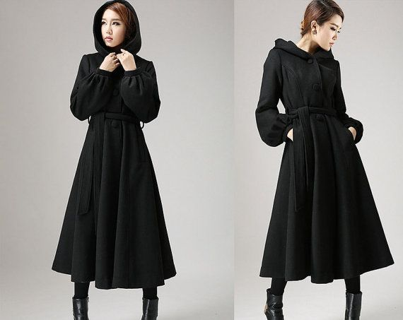 3650fd9dd53 Black wool coat with tie belt waist long winter coat (724) Christmas Sales  10% Off