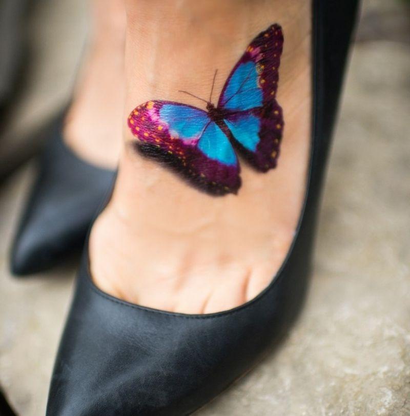 Schmetterling Tattoo Fuss Oberseite Farbig 3d Effekt Tattoo Design