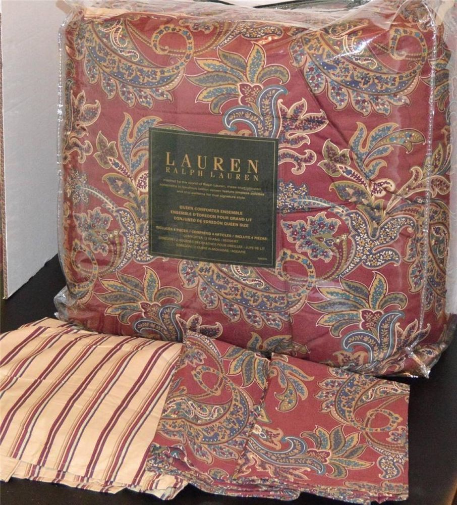 Ralph Lauren Allan Red Paisley Queen Comforter Set New 1st
