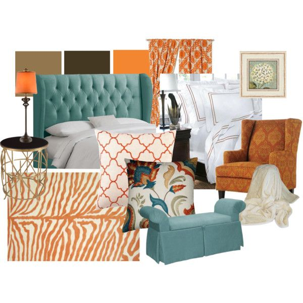 Aqua orange brown living room inspiration wish i could add for Orange and brown living room ideas