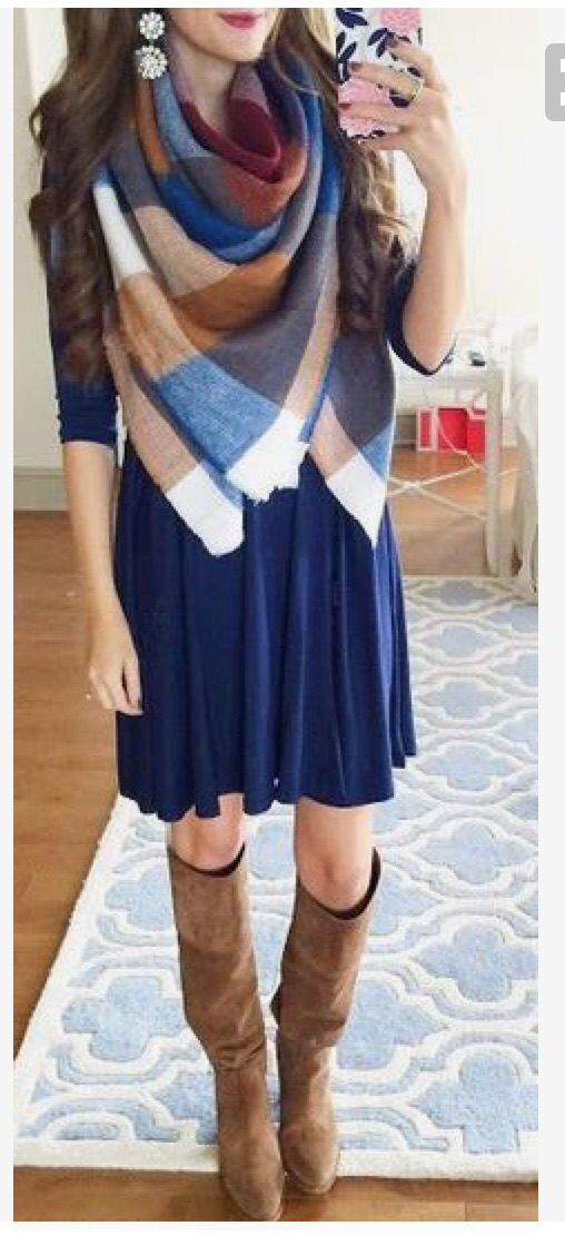 Plaid blanket scarf over a navy blue 3/4 sleeve dress. Great knee high boots!l. D statement earrings.  Stitch fix inspiration fall and winter 2016