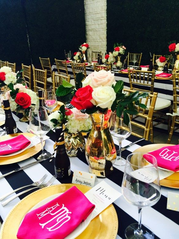 Black White Pink and old Tablescape