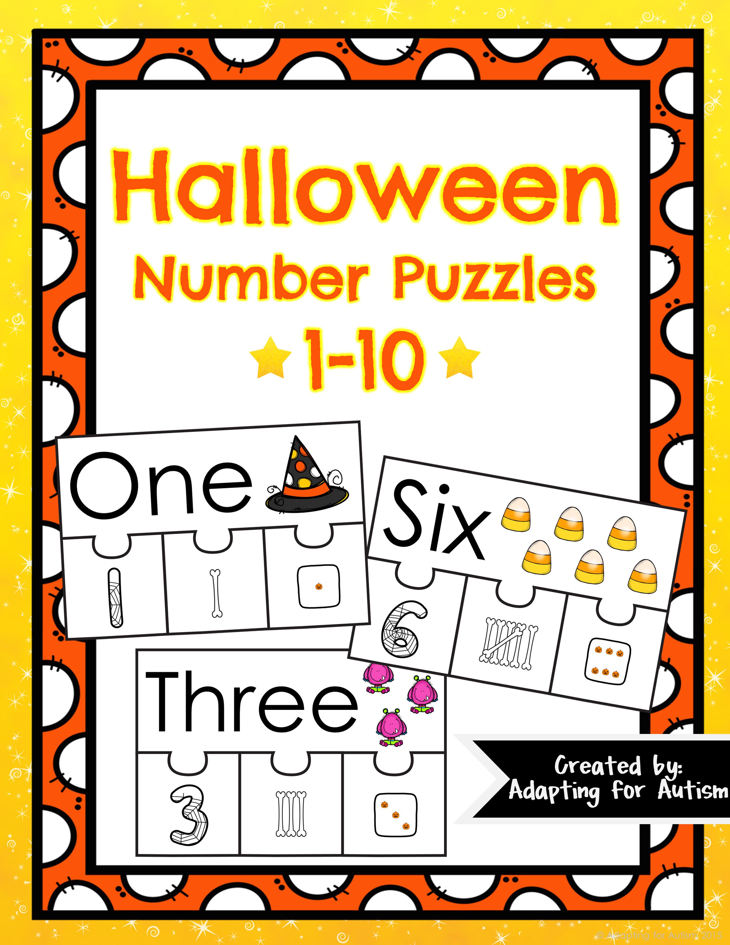 Number Puzzles 1 10 Freebie Halloween Theme