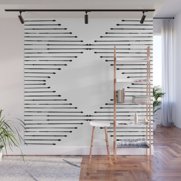 99 Diy Apartement Decorating Ideas On A Budget 23: Geo Lines Wall Mural By Society6.com/SummerSunHomeArt