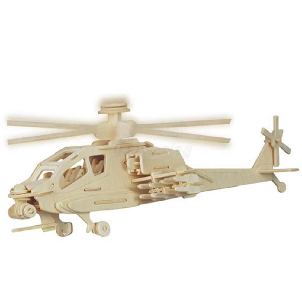 Kids wood craft kits - Diy 3d Wooden Jigsaw Apache Helicopter Heli Plane Model Construction Kit Kids Children Puzzle Toy Gift