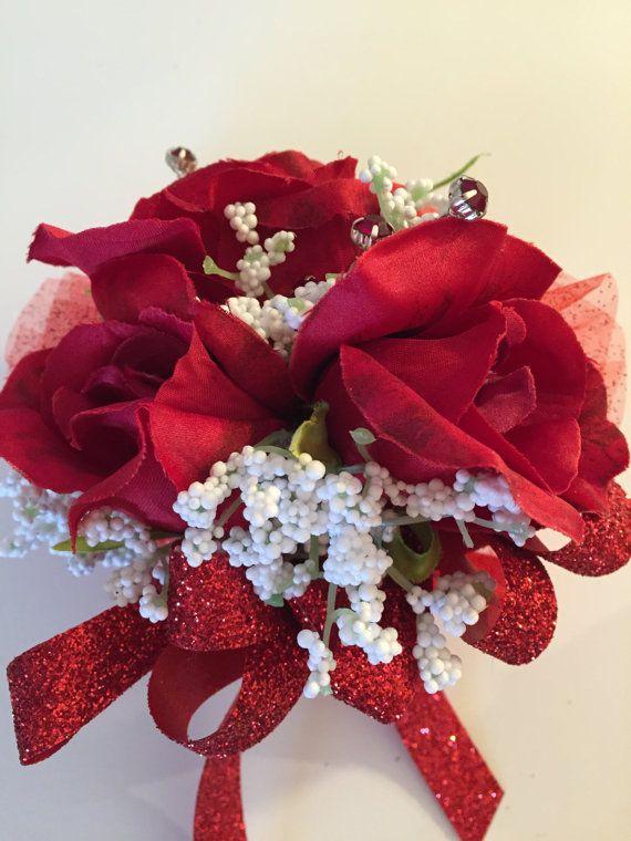 Ruby Anniversary 40th Corsage Wedding Red Rose Silk