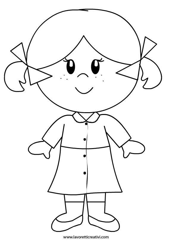 Bambina Disegno Da Colorare.Accoglienza Scuola Bambina Con Grembiule Disegni Semplici