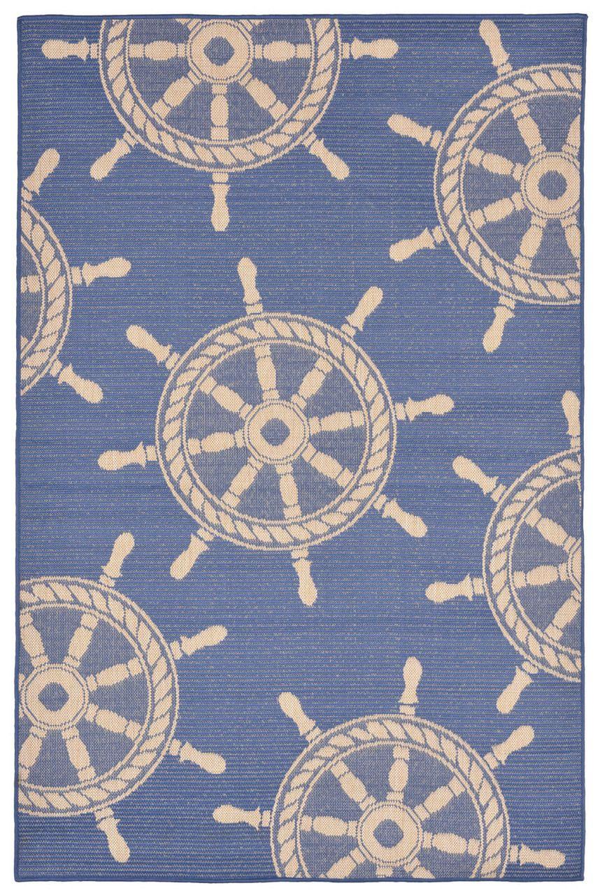 Nautical Rugs Terrace Shipu0027s Wheel Rug - Marine Blue
