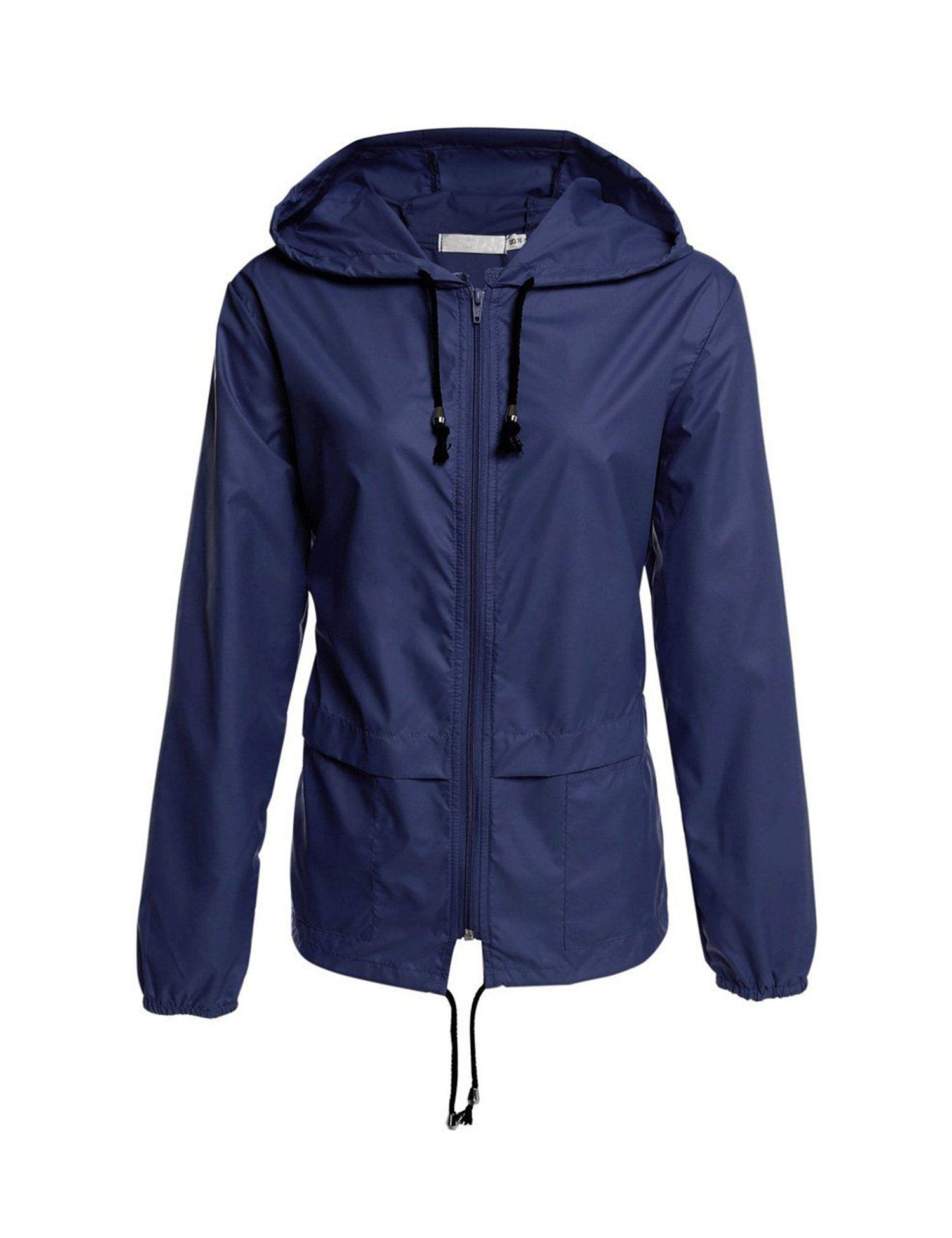 Romanstii Lightweight Waterproof Raincoat For Women Windbreaker Outdoor Rain Jacket with Stowable Hood