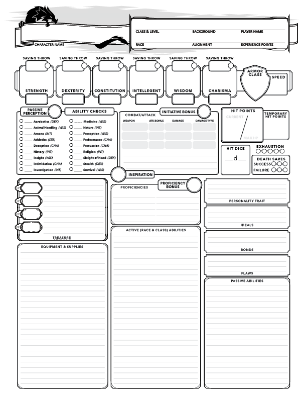 graphic about Pathfinder Character Sheet Printable called DD 5e Participant Persona sheet - Dungeon Masters Guild