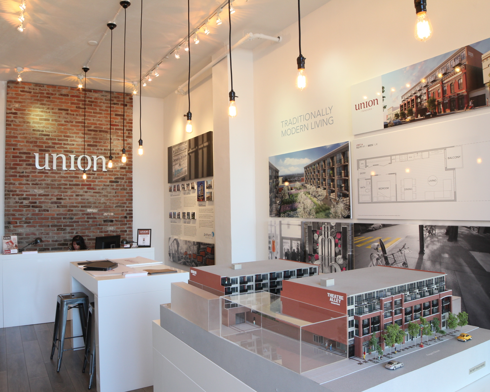Sales centre design for anthem properties advertising for Real estate office interior design