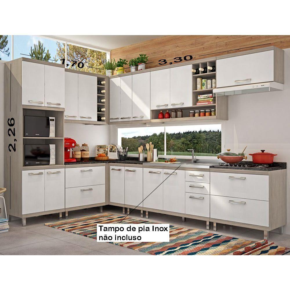 Armario De Cozinha Modulada Veronica 16 Pecas Carvalle Tx X2f