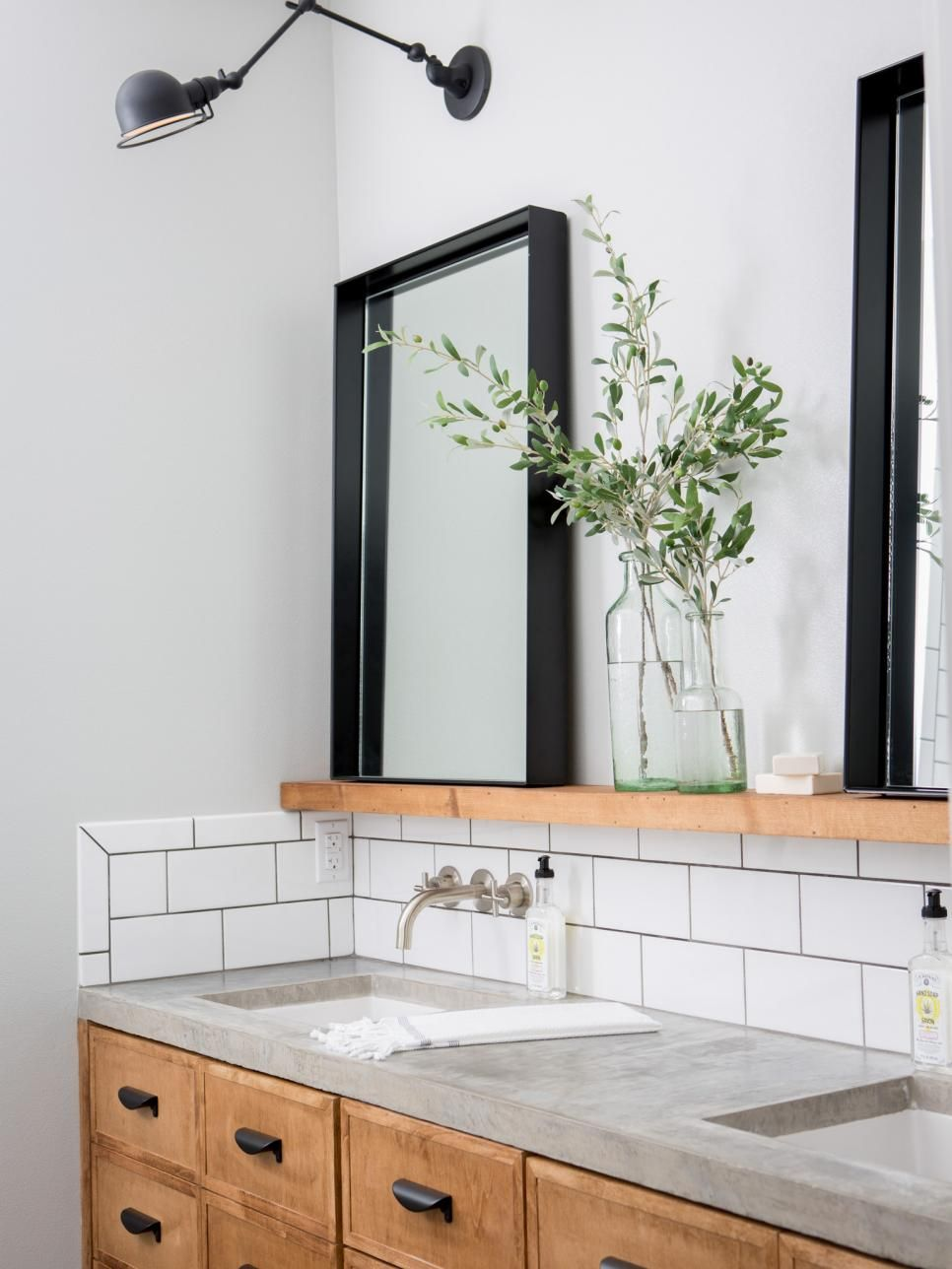wooden vanity subway tile backsplash wooden shelf in the fixer upper season four finale chip and jo take on a project for some special clients and - Mirrored Bathroom Vanity