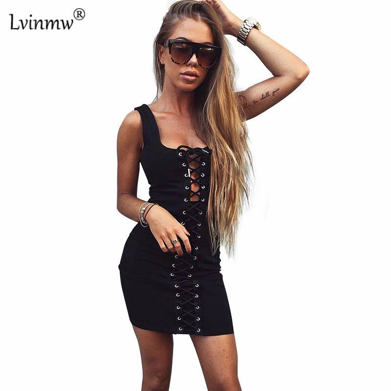 91dc0dd8da9 Lvinmw Summer Lace Up Cross Backless Women Dress Sexy Off Shoulder  Sleeveless Bodycon Vestidos Party Black