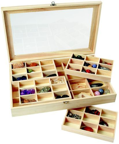 rock collecting boxes   56 Window Collection Display Box