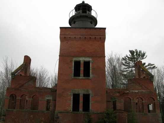 14 Mile Point Lightouse - Abandoned Michigan, Lake Superior. - Coastal lighthouses generally use first, second, or third order lenses, while harbor lights and beacons use fourth, fifth, or sixth order lenses