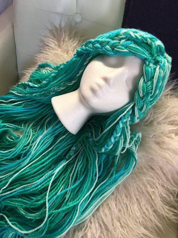 sélection mondiale de acheter de nouveaux recherche d'officiel Mermaid wig, Uma inspired crochet yarn wig, siren wig ...