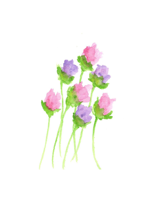 Watercolor flower painting flower art pink purple floral flower buds origi