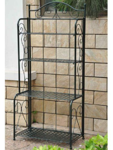 Mandalay Iron Folding Indoor Or Outdoor Bakers Rack In A Green