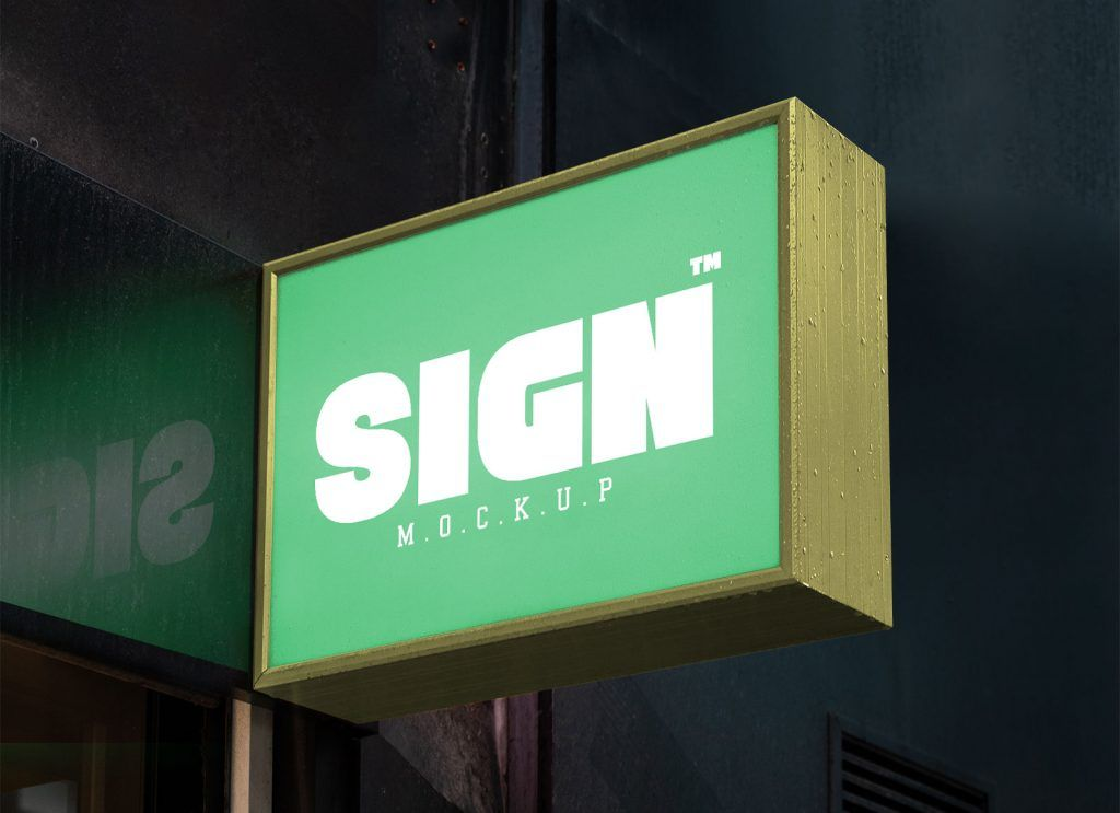 Wall Mounted Shop Light Signage Board Mockup With Reflection Signage Board Sign Mockup Wall Signage