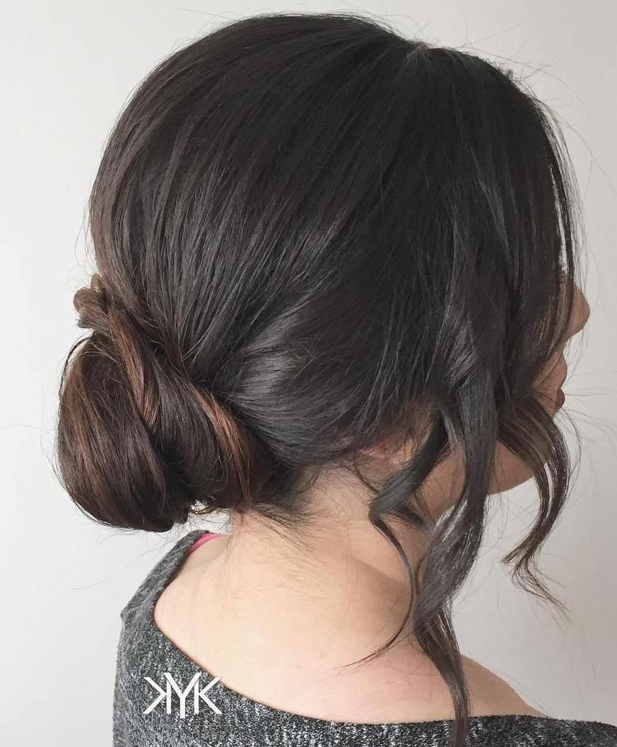 40 Quick And Easy Short Hair Buns To Try Short Hair Bun Bun Hairstyles Short Hair Styles Easy